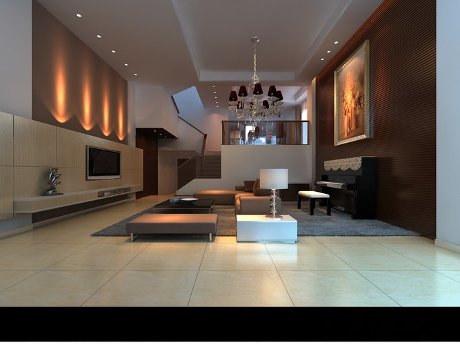 living room cum piano space 3d model max 1