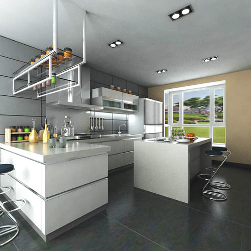 3d Max Kitchen Interior Design: Ritzy Kitchen With Fancy Decor 3D Model