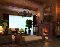 3d living room with authentic fireplace
