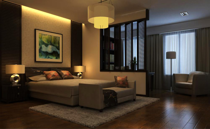 eminent bedroom with high end decor 3d model max. Black Bedroom Furniture Sets. Home Design Ideas