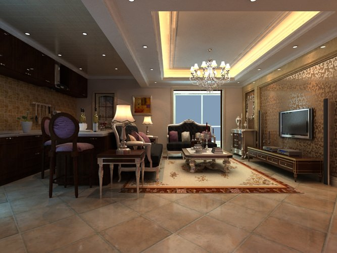 3d model grand living room with eminent interior for Grand living room