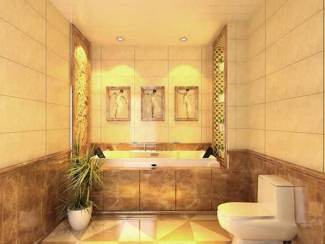 Ritzy bathroom with posh decor 3d cgtrader for Model home bathroom decor