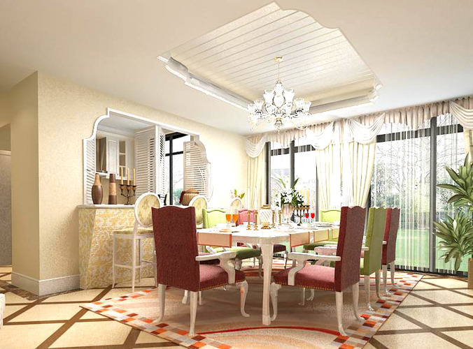 Dining room with modern interior 3d model max for Dining room 3d max interior scenes
