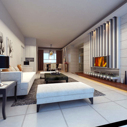 Spacious drawing room with modern interior 3d model max for 3d bedroom drawing