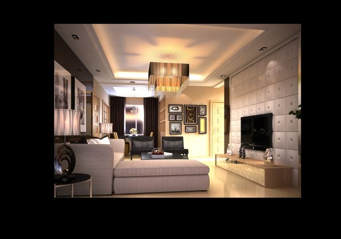 Living room with florid chandelier and tv 3d model max for Living with models