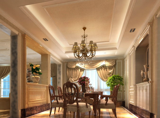 Ritzy dining room with exotic chandelier 3d model max for Dining room 3d max model