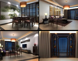 3d model eminent living room with blue curtains