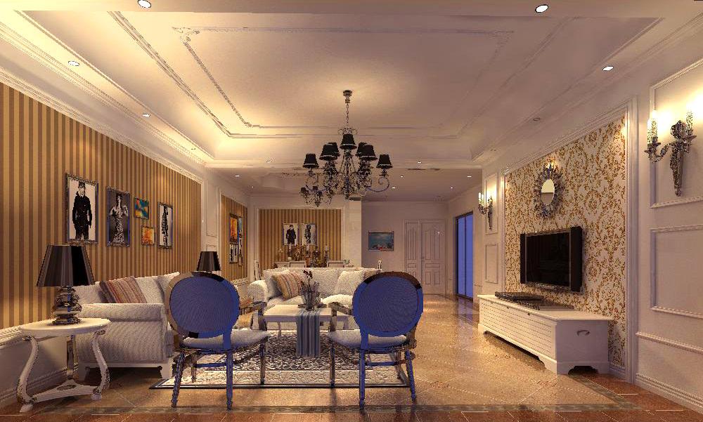 Posh Living Room With Ritzy Chandelier 3D Model
