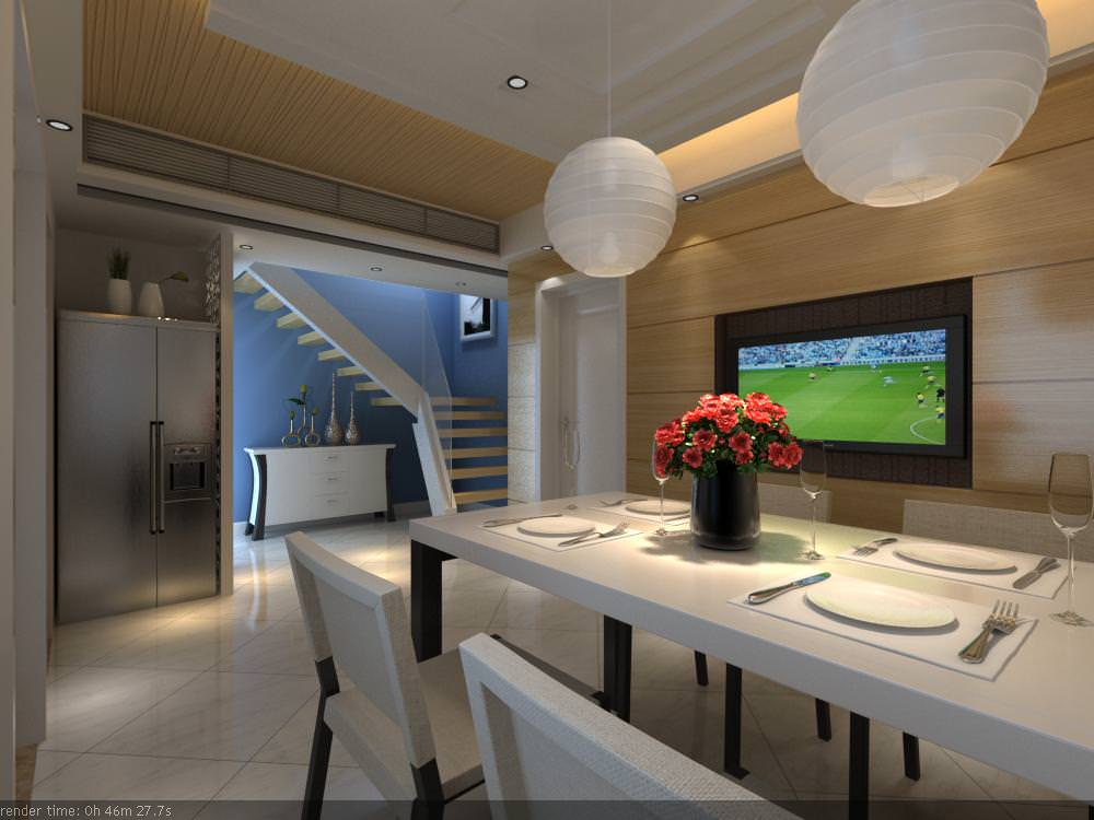 3D Eminent Dining Room with Refrigerator | CGTrader