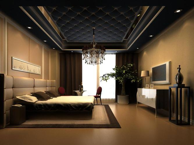Exquisite Bedroom With Black Ceiling Decor 3d Model Max
