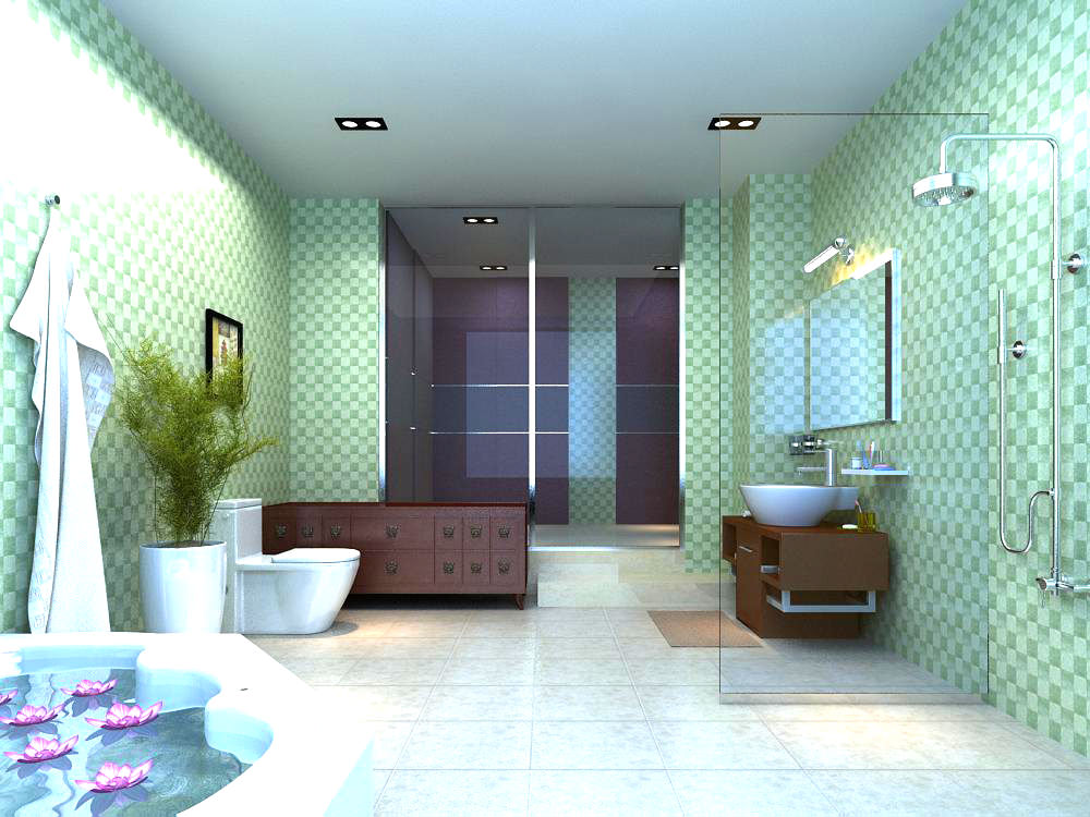 Bathroom Design 3d Model : Bathroom with posh interior design d model max cgtrader