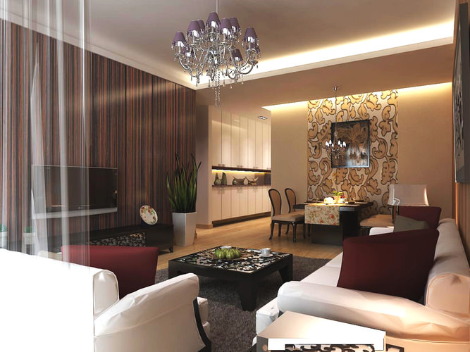 Living Room With High End Wall And Rug 3D Model MAX