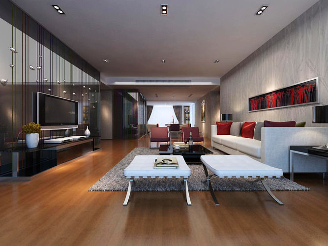 Living area with a long divan and wooden floor 3d model max for Living with models