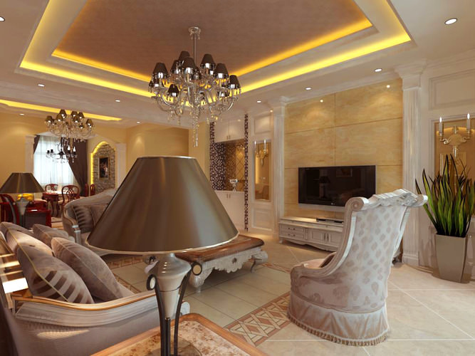 home living room with high-end lamp 3d model max 1