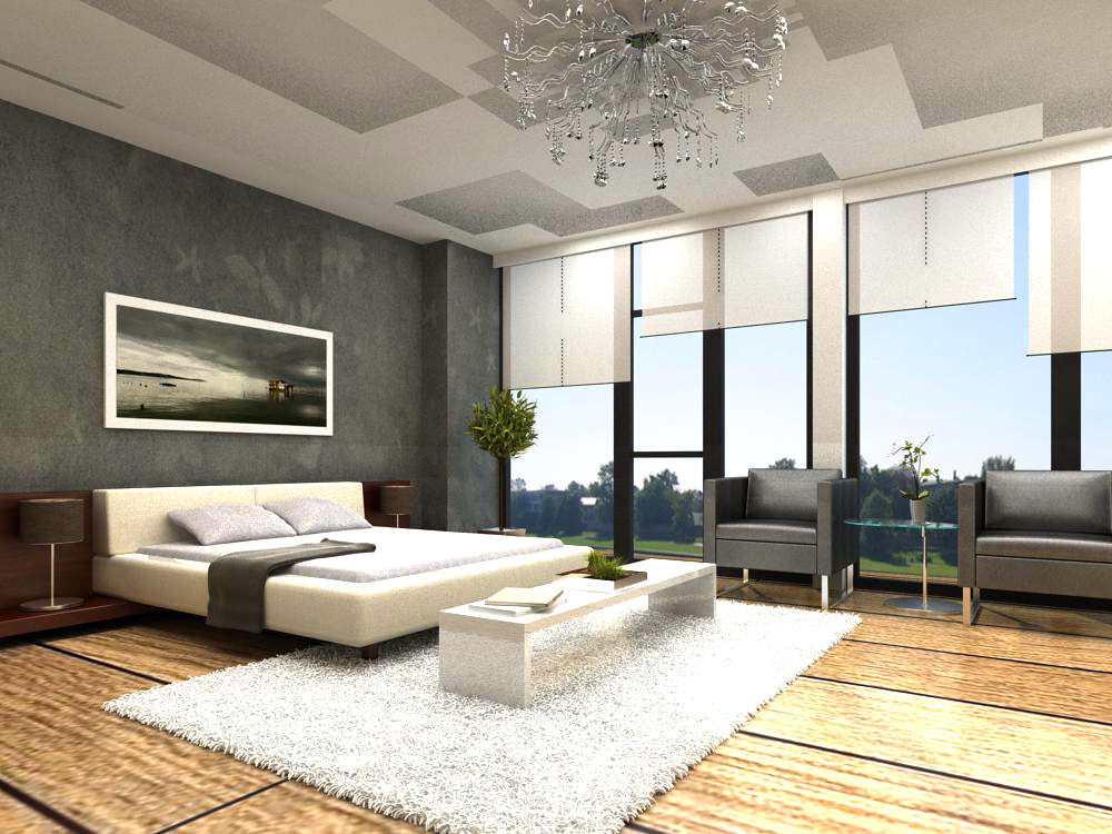 Bedroom With Chandelier And White Fur Rug 3d Model Max