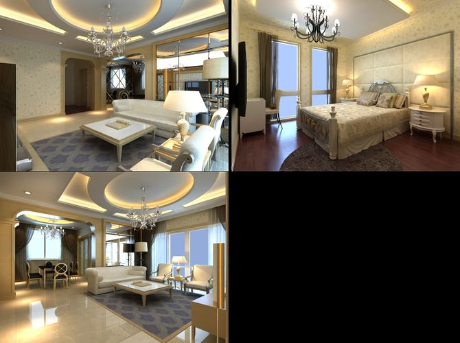 Elite Living Room With White Marble Floor 3d Model Max