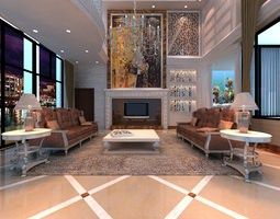 multi storey living room with abstract artwork 3d