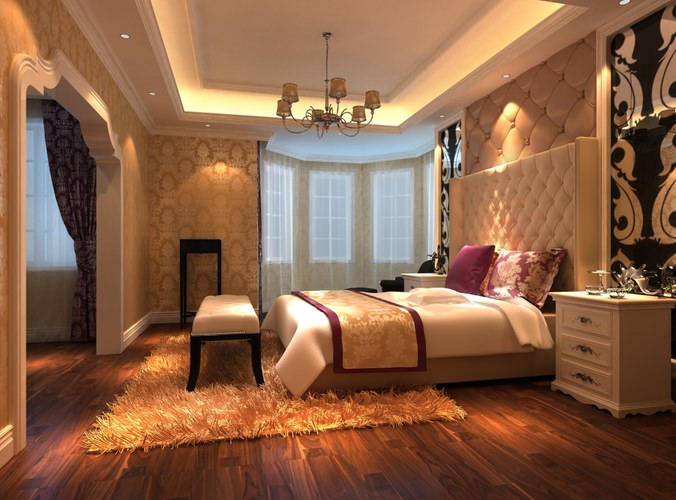 3D Bedroom with Fur Rug and Wall Decor