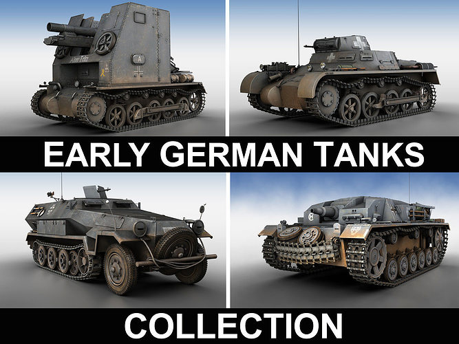 early german wwii tanks - collection 3d model obj mtl 3ds fbx c4d lwo lw lws 1