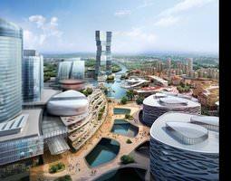 futuristic city with river 809 3d models