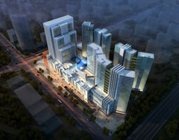 3d Building Night Cityscape 085
