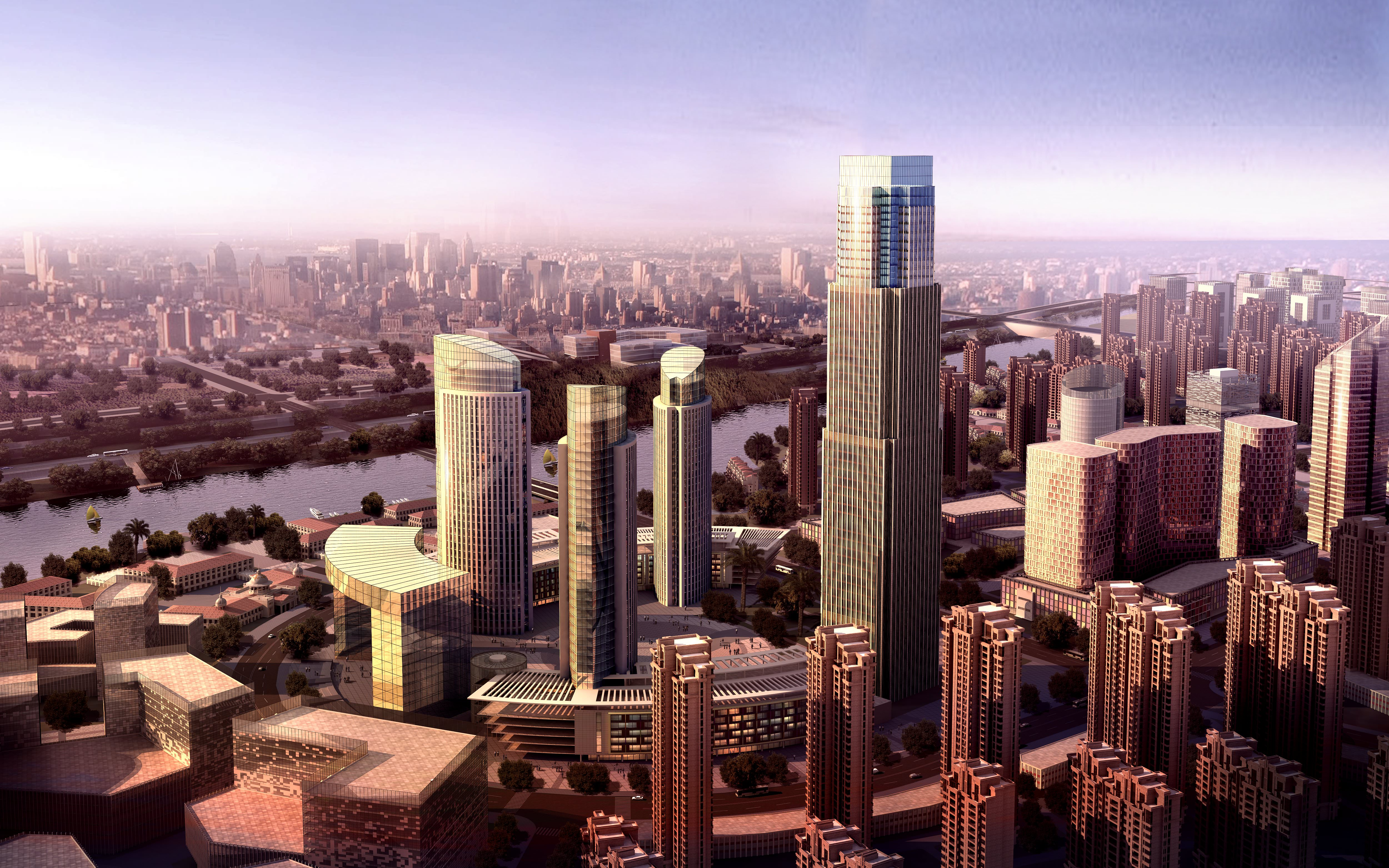 Shanghai Downtown With River 509 3d Models 3d Model Max