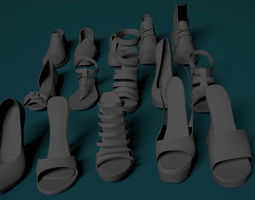 heel female shoes 3D