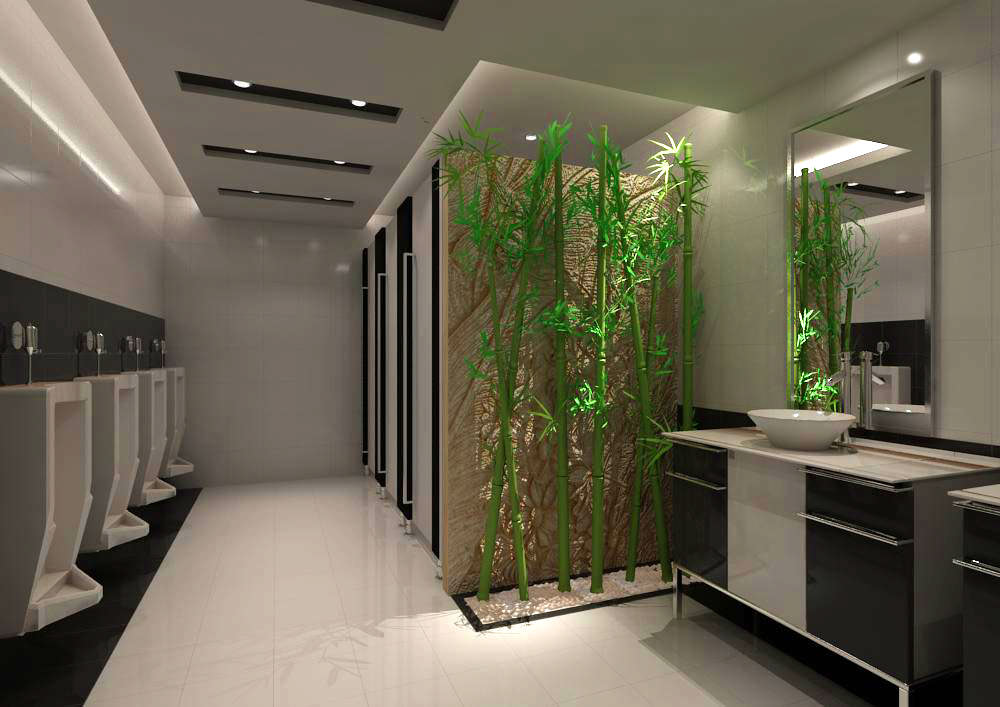 Public Toilet Decorated With Artificial Trees 3d Model Max 1