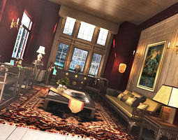 grand living room with exquisite carpet 3d model