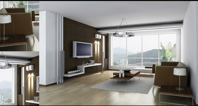 Living room with posh couch and view 3d model cgtrader for Living room 3d view