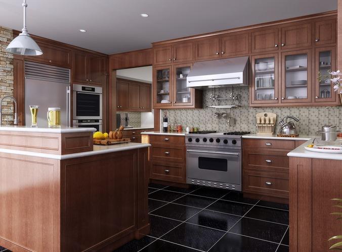 fully furnished and polished kitchen 3d model max obj mtl 1