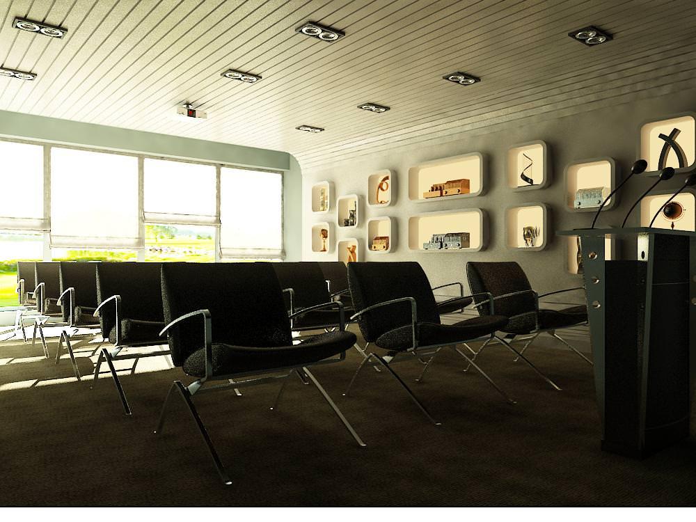 Seminar Hall with Exquisite Designer Walls 3D model MAX