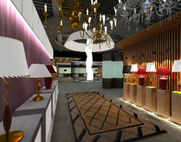 3d model commercial space with large chandeliers