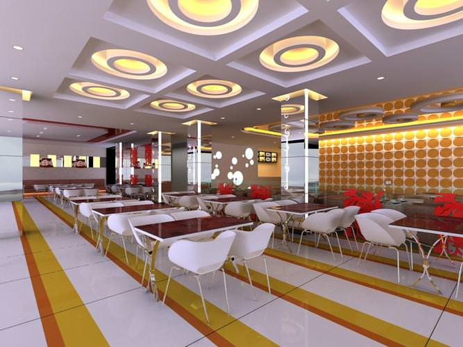 Restaurant with round ceiling lights d model cgtrader