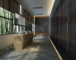 Public Toilet with Designer Appliances 3D model
