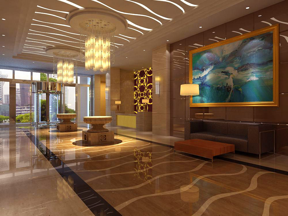 Designer Walls designer walls Lobby With Wall Painting And Designer Walls 3d Model Max 1
