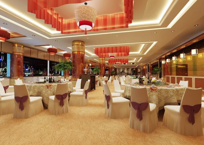 Luxurious restaurant with designer interior d model dwg