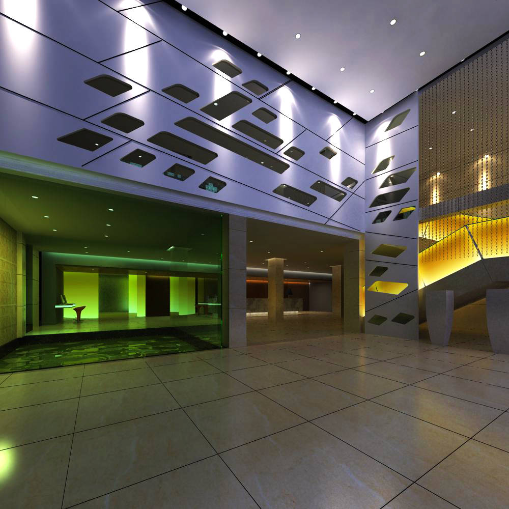 Exclusive lobby with designer interior 3d model max for Exclusive interior designs