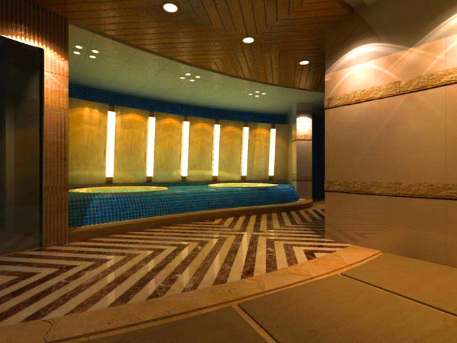 elegant spa room with wooden ceiling 3d model max 1