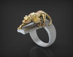 3d printable model ring wild cat stl