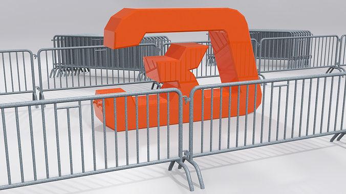 crush barrier fence 3d model max obj mtl 3ds fbx 1