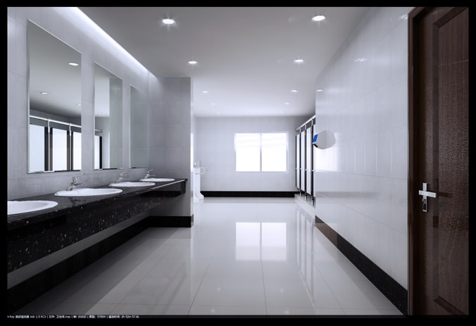 Spacious Polished Public Toilet 3d Cgtrader