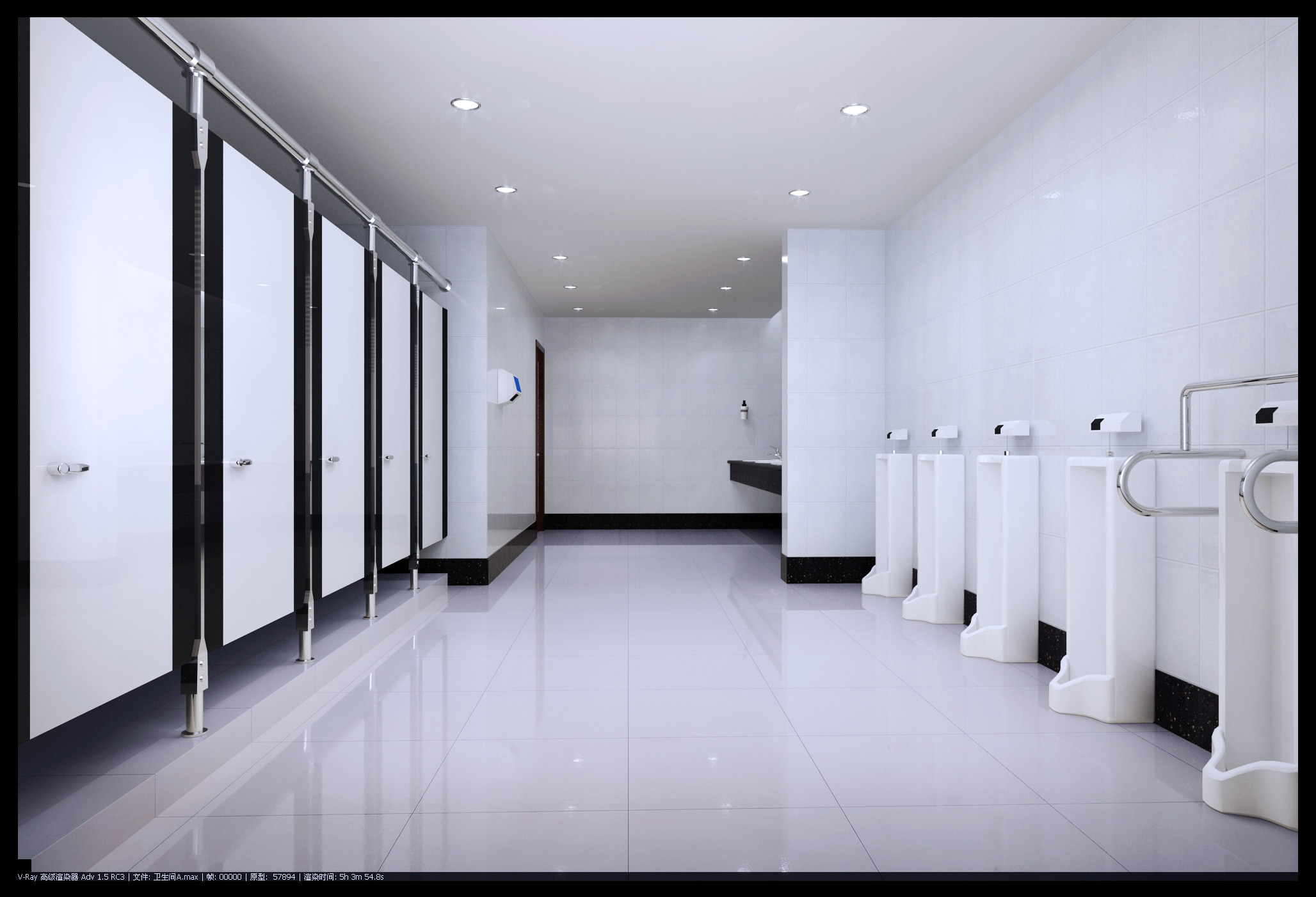 Spacious polished public toilet 3d model max for Bathroom design 3d model