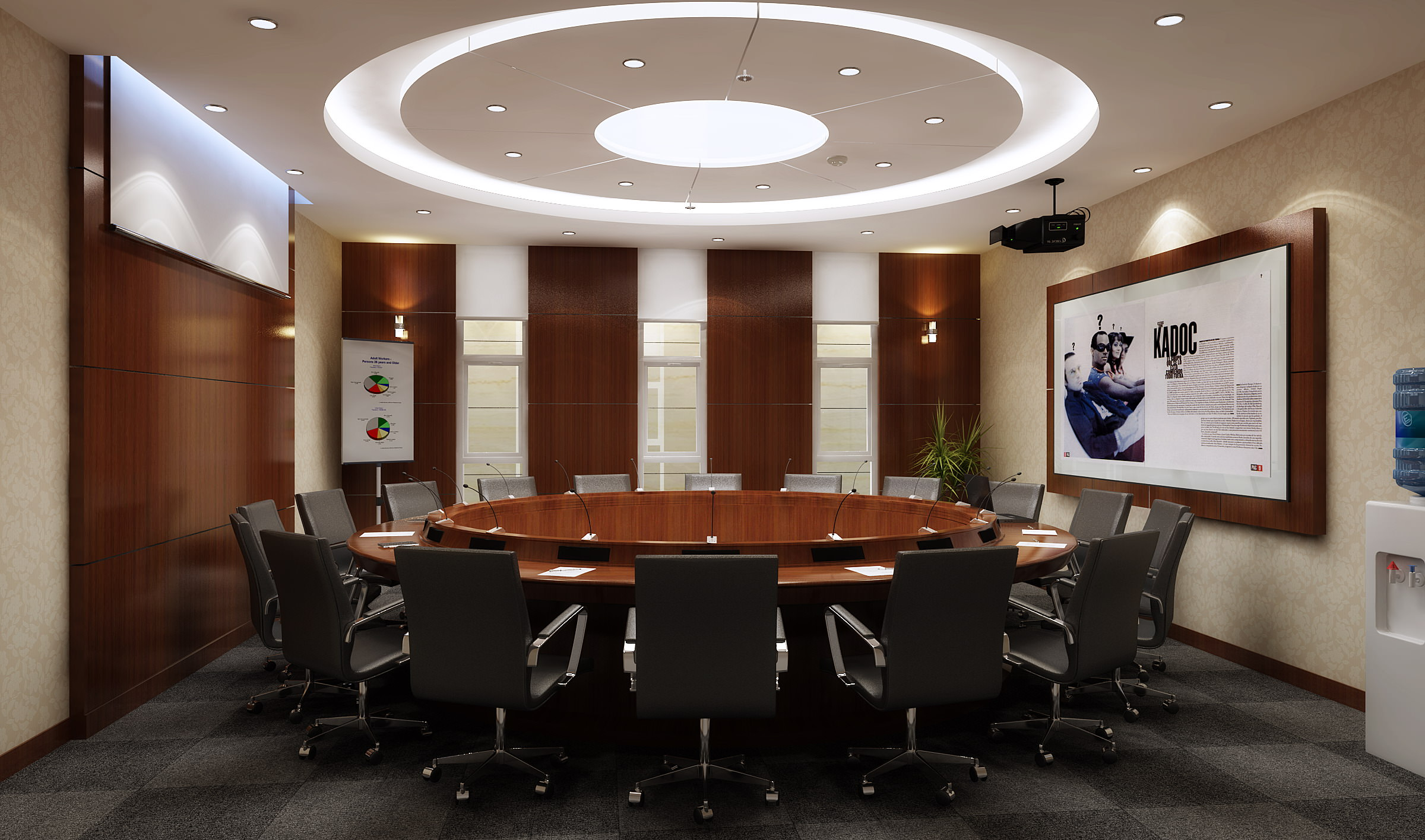 Elegant conference room with round table 3d model dwg for Table design 3d