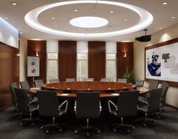 3d model elegant conference room with round table