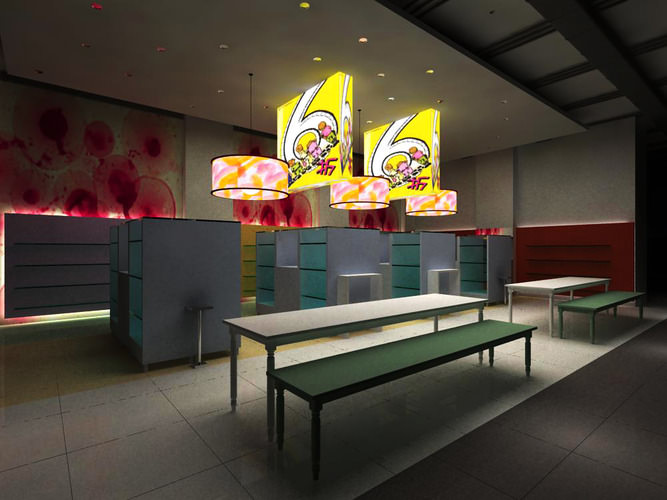 Reception space with fancy lights and desks 3d model max - Desks small space model ...