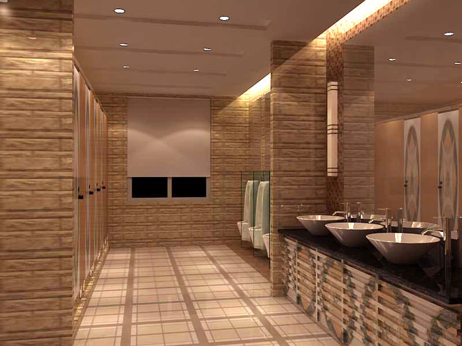 Public toilet with exquisite tiles 3d model cgtrader for Washroom interior design