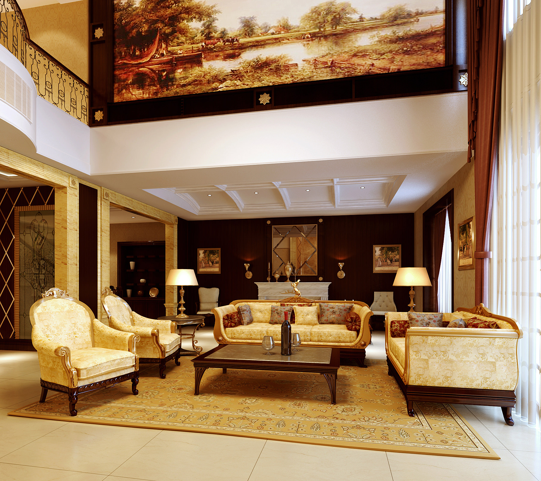 Drawing Room With Large Wall Painting 3d Cgtrader