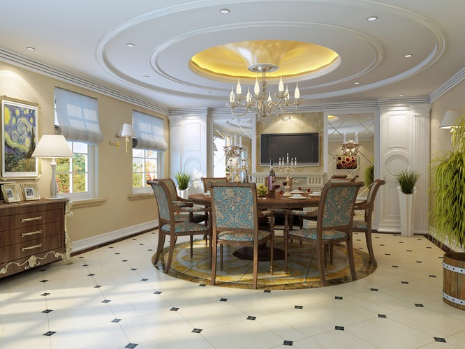 dining room with fancy ceiling and chandelier 3d model max 1