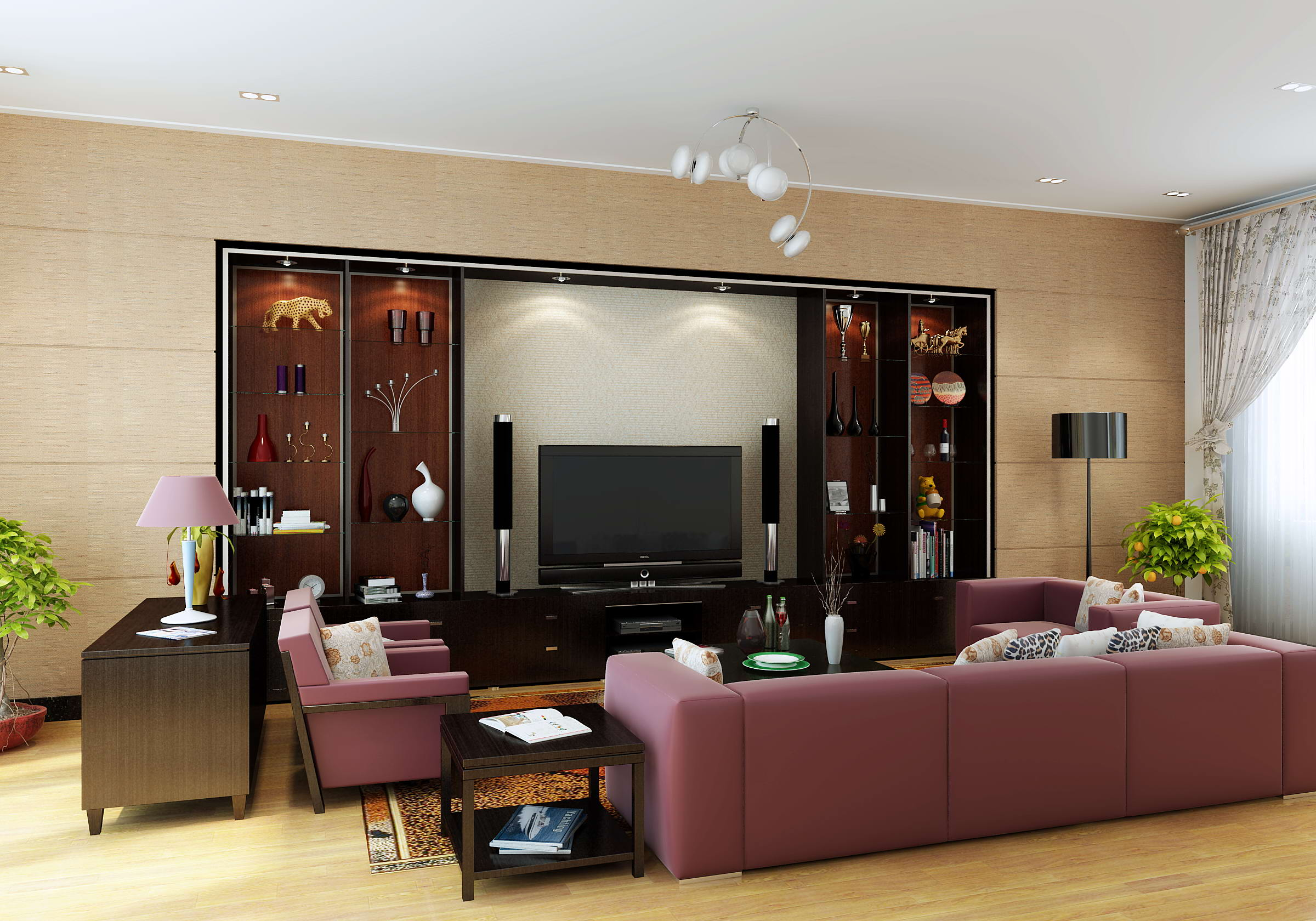 Living Room Model 3D Model Living Hall With Wall Showcase  Cgtrader